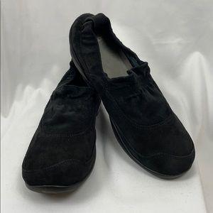 Dansko Black Suede Leather Slip On Shoes, Size 41